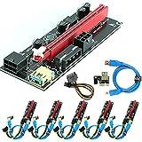 Ubit Paquete de 6 cables PCI-E Riser Express de 16X a 1X (Dual-6pin + Molex) con ampliación gráfica LED, tarjeta adaptadora Ethereum ETH mining-Riser con alimentación + 60cm USB 3.0