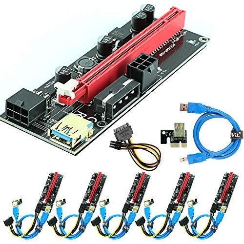 Ubit Paquete de 6 cables PCI-E Riser Express de 16X a 1X (Dual-6pin + Molex con ampliación de gráficos LED, tarjeta adaptadora Ethereum ETH Mining-Riser con alimentación + 60cm USB 3.0