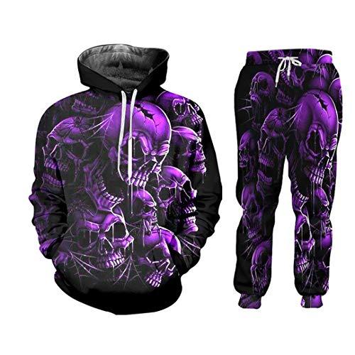 Summer 2 Piece Set Purple Skull Terror Short Sleeve Print Tops Mens Sets Gym Hoodie Set HSPA01028 XXXL