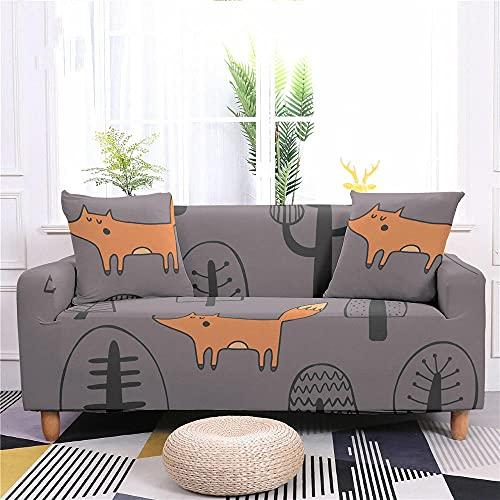 Funda Sofas 2 y 3 Plazas Caricatura, Marrón Fundas para Sofa con Diseño Elegante Universal,Cubre Sofa Ajustables,Fundas Sofa Elasticas,Funda de Sofa Chaise Longue,Protector Cubierta para Sofá