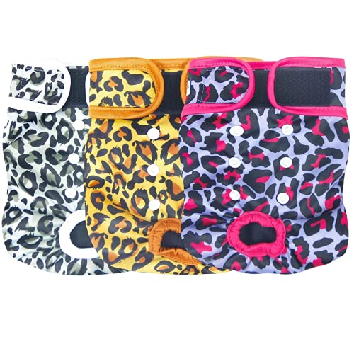 Leekalos Reusable Washable Dog Diapers Female (3 Pack) - Highly Absorbent Doggie Diapers - Size Adjustable Puppy Diapers for Dog Period Panties (Medium, Leopard)