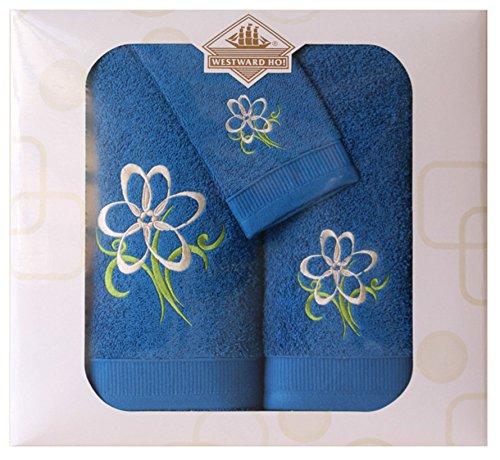 Westward Ho!.–Juego de 3Caja de trufa Bordado Toalla, Royal, algodón Peinado, Royal Blue, 48x 10x 42cm