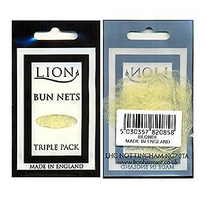 Lion Hair - Lote de 3 paquetes con 10 redecillas de pelo para moños, para pelo rubio, con 30 redecillas en total