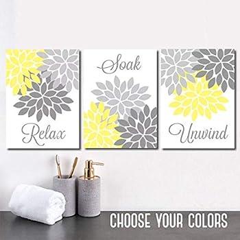 Amazon Com Yellow Gray Bathroom Decor Bathroom Wall Art Canvas Or Prints Bathroom Decor Yellow Gray Flower Set Of 3 Relax Soak Unwind Wall Decor 8x10 Inch Posters Prints