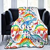 Kuscheldecke mit Dinosaurier-Motiv, Micro-Fleece, superweich, leicht, knitterfrei, Tagesdecke, 127 x 102 cm