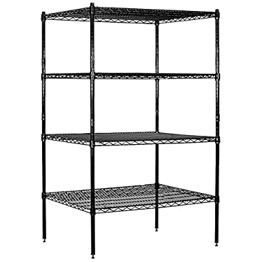 Salsbury Industries Stationary Wire Shelving Unit, 36-Inch Wide by 63-Inch High by 24-Inch Deep, Black