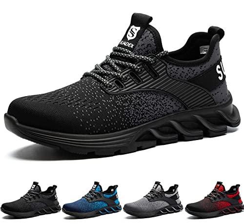 SUADEX Zapatos de Seguridad Hombre Mujer, Zapatillas de Seguridad Hombre Trabajo Punta de Acero Calzado de Seguridad Deportivo (Negro,45EU)
