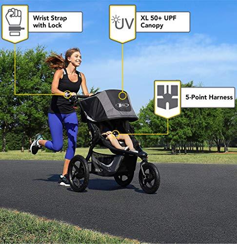 BOB Gear Revolution Flex 3.0 Jogging Stroller - Up to 75 pounds - UPF 50+ Canopy - Adjustable Handlebar - Easy Fold, Graphite Black