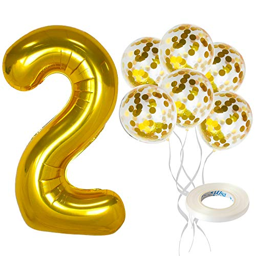 Gold Number 2 Balloon Set - Large, 40 Inch | Gold Confetti Balloons, Pack of 5 | 2nd Birthday Decorations | 2nd Birthday Balloons for Kids Party Decor | Number 2 Gold Balloon Birthday Decorations Kit