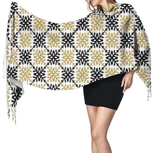 Moderno y elegante patrón de copo de nieve negro y dorado para mujer, cálido chal largo, bufandas grandes, sensación de cachemira, bufanda larga