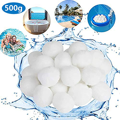 Maogou Umweltfreundliche Filtermedien Filterball für Aquarium, Schwimmbad, Sandfilter, Wasserpool Filterbälle, weiße Formbeständigkeit, hohe Durchlässigkeit (200g/500g/700g), 500 g