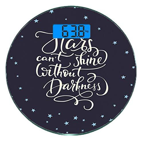 Digitale Präzisionswaage für das Körpergewicht Runde Inspirierend Ultra dünne ausgeglichenes Glas-Badezimmerwaage-genaue Gewichts-Maße,Motivations-Leben-Mitteilungs-Glück-Kalligraphie-Zitat-Nachtskyli
