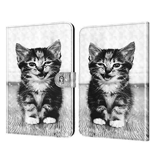 DodoBuy - Funda para tablet Lenovo Tab M10 HD de 10,1 pulgadas, 3D Flip Folio Folio de piel sintética con ranuras para tarjetas, función atril, cierre magnético, diseño de gato