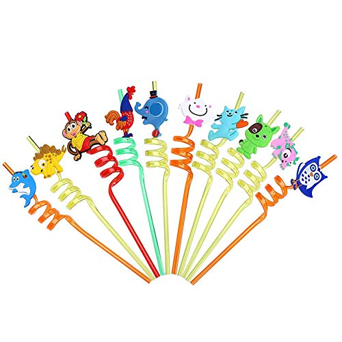 10 PCS Disposable PP Cartoon Animal Pattern Straw Drinking Creative Loop Curly Straws Decorative for Party Table by CCINEE