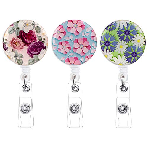 PS01 Nurse Badge Holder Reel, 3 Pcs Retractable Badge Reel with Alligator Clip, Name/ID Card Holders for Nursing and School Student 24 inch Nylon Cord