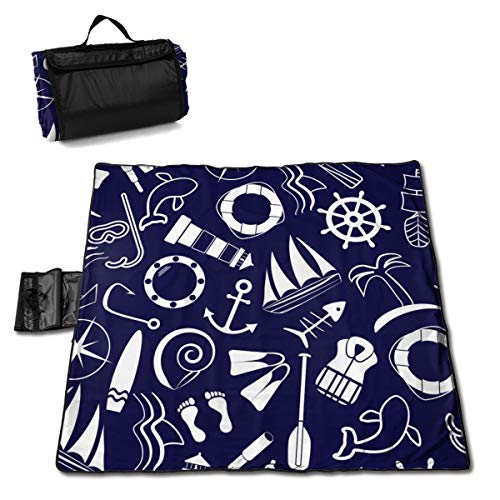 Buy LDSWIMMING Picnic Mat 57 X 59inches Blue Nautical and Sailing 1 Sand Proof Mat Camping Hiking Fe...