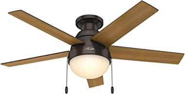 """Hunter Fan Company 59268 Hunter Anslee Indoor Low Profile Ceiling Fan with LED Light and Pull Chain Control, 46"""", Premier Bronze"""