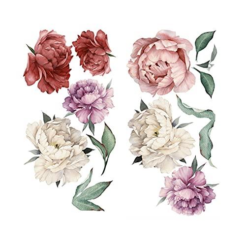 TYUTYU Calcomanías de Pared Patrón de Flores de peonía Rosa DIY Decoración de la Pared Decoración autoadhesiva PVC Etiqueta engomada Mural DIY Vinyl (Color : B)