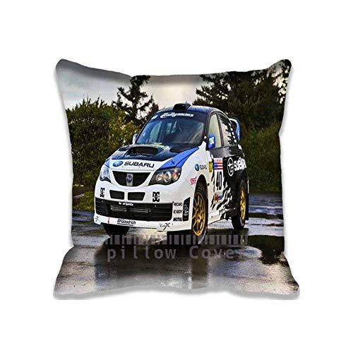 OF Subaru STI Rally Car Pillow Cases Only Fashion and Soft Cars Throw Pillow Covers Zip Design Subaru Customized Neck Pillows for Travel Kissenbezüge (55cmx55cm)