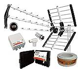 Kit Antena TECATEL BKM-18 Negra + Rollo Cable TELEVES DE 20MT + Conjunto Amplificador Y FUETE TECATEL AMP-LTE304L (700Mhz, 5G) Y Fuente FA-MAX 24160 Y Conectores