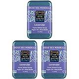 DEAD SEA Salt Lavender SOAP 3 PK, Dead Sea Salt Includes Sulfur, Magnesium, etc. Shea Butter, Argan Oil. All Skin Types, Problem Skin. Acne, Eczema, Psoriasis, Natural, Therapeutic, Natural Lavender
