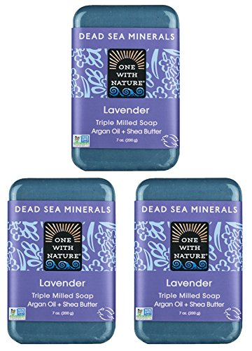 DEAD SEA Salt Lavender 7 oz SOAP 3 Pack, Dead Sea Salt Includes Sulfur, Magnesium, and 21 Essential Minerals. Shea Butter, Argan Oil. All Skin Types, Problem Skin. Natural, Therapeutic.