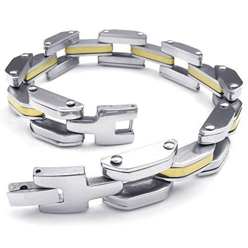 KONOV joyas pulsera para hombre-Biker vínculo puño de acero inoxidable de mano con cadena, color plateado con oro Bolsa de regalo