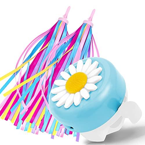 obqo Fahrradklingel Kinder Fahrradglocke mit 1 Paar Lenkerfransen Fahrrad Luftschlangen für Kinderfahrrad Laufrad Roller Süß Blume Klingel Geschenk für Geburtstag,Weihnachten,Kindertag (Blau&Weiß)