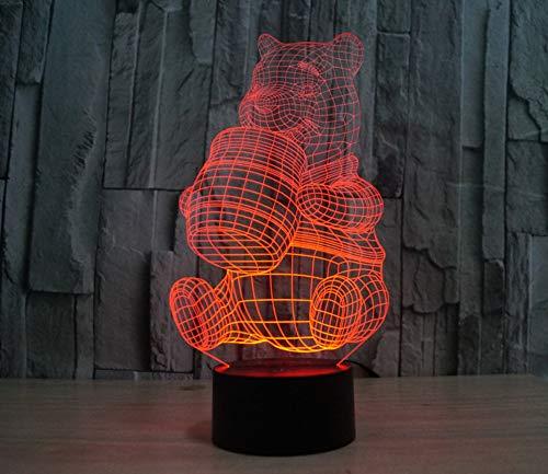 Veilleuse LED 3D Lampe Optique Illusion Winnie L'Ourson Enfant Lampe de Nuit pour Chambre Chevet Fille Fils Cadeau Anniversaire Surprise Deco Ambiance Créatif,Interrupteur Tactile