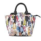 LIANCHENYI Bolsos de mano de piel sintética con asa superior colorida de caballos, lindo animal de un solo hombro, bolsa cruzada, bolsas de mensajero para mujeres