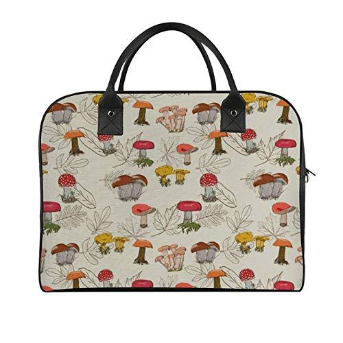 Yeuss Outdoor Travel Tote Mushroom Repetitive Autumnal Forest Floral Oak Leaves Illustration Girl Outdoor Storage Convenient Boy Shoulder Bag
