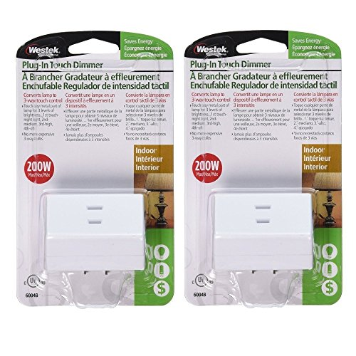Westek Touch Lamp Control Dimmer Switch, 2 Pack – Small Plug-In Device Converts Lights to Touch Lamp, 3 Way Switch – No Wiring, Easy to Install, Ideal for Floor, Bedside and Hard to Reach Lamps