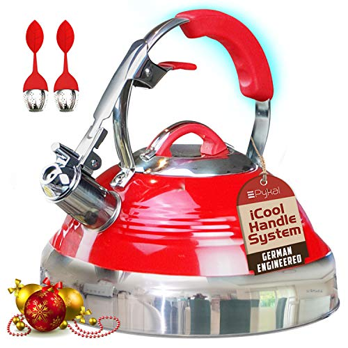 The Red Hotness Whistling Tea Kettle with iCool-Handle Technology and 2 x Free Loose Tea Infusers,...