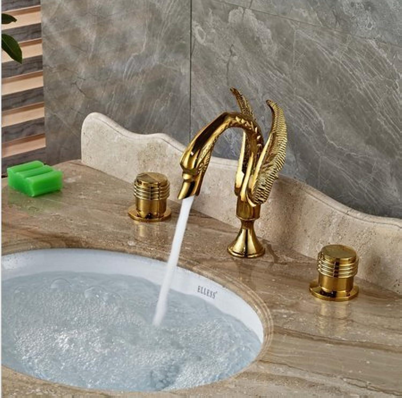 GOWE Luxury golden Brass Bathroom Basin Faucet Widespread Vanity Sink Mixer Tap