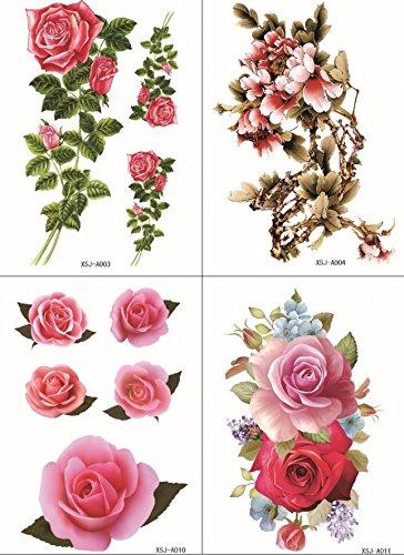 Grashine 4pcs toxiques étanches et non dans un seul paquet, il y compris 4pcs fleurs colorées, roses et pivoines tatouages temporaires
