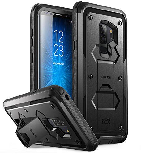 i-Blason Coque Samsung Galaxy S9+ Plus, [Série Armorbox] Coque Antichoc avec Béquille et Clip Ceinture SANS Protecteur d écran pour Samsung S9 Plus 2018 (Noir)