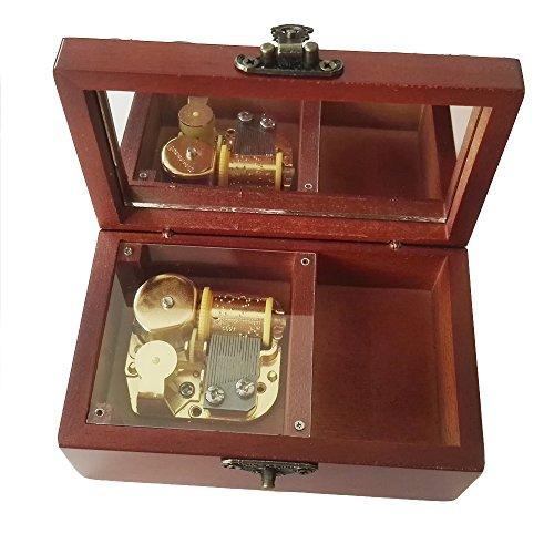 18Note Antik Spitze Aufzieh Hölzerne Spieluhr, Kleine Größe Aufbewahrung Musik Box, Lilium aus lila Elfen gelogen, Musik goldfarben