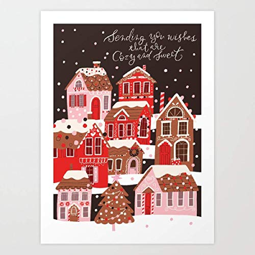 Amrzxz DIY-Impresiones de Gingerbread Village DIY Digital Lienzo Aceite Pintura Regalo para Adultos niños Pintura por número Kits Home Decorations(sin Marco) 30x45cm