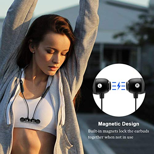 Bluetooth Headphones 5.0 Wireless Earbuds IPX6 Waterproof Magnetic with Stereo Bass, 8 Hours Play Time,Noise Cancelling Sweatproof Sport in-Ear Earphones for Running Workout Gym 7