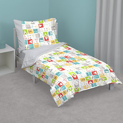 Zutano Teepee 4-Piece Toddler Bed Set, Grey, Lime, Teal, Yellow
