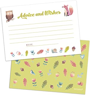 Set of 50 Woodland Animals Baby Shower Advice and Wishes Cards, Advice for the Parents-to-Be Cards for Baby Shower Game, P...