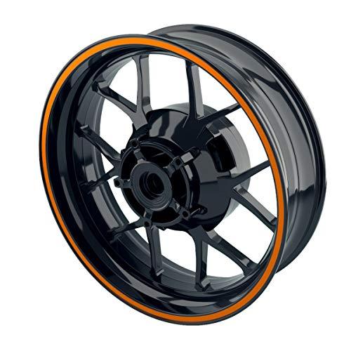 OneWheel Felgenrandaufkleber Motorrad & Auto Komplett-Set (15-19 Zoll) - 10 Felgenstreifen 8mm breit (Orange - glänzend)