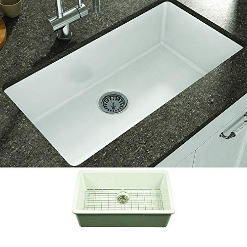 Empire Industries YU32 Yorkshire Undermount Fireclay Single Bowl Kitchen Sink with Grid and Strainer, White Alabama
