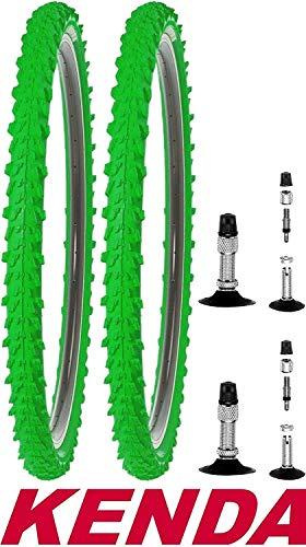 2X Kenda Fahrradreifen 24 Zoll 50-507 24x1,95 MTB Profil K-829 Reifen Fahrrad Decke Mantel Neongrün Grün mit 2X Schlauch BV (Blitz Ventil)
