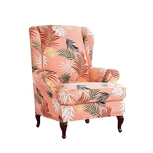 Zoyay Funda de sillón orejero elástica con Orejas Fundas sillón Relax Protector de Muebles Reclinable Fundas para Butacas Funda Sofa 1 Plaza Sala2 Piezas-Naranja_Estilo1