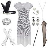 Damen Flapper-Kleid, 1920er-Jahre, mit Perlen und Fransen, Great Gatsby Kleid mit Zubehör-Set -...