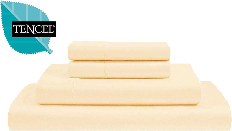 Jvin Fab Luxury Tencel Christmas Bedding - Lyocell Sheets 4 Piece Bed Sheet Set Deep Pocket 100% Tencel Natural Organic Silky Soft Bedsheets Pillow Cases Woven Sateen Queen Size - Vanilla