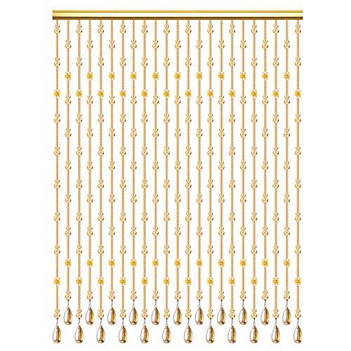 ZTMN Cortina de Cuentas, Cortina de Puerta Hecha a Mano con Cuentas de Cristal Divisor de habitación División Decorativa (+ Herrajes Colgantes) (Color: Dorado, tamaño: 70cmx176cm)