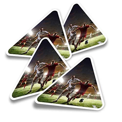 Pegatinas triangulares de vinilo (juego de 4) – Juego profesional de jugadores de fútbol divertidos calcomanías para portátiles, tabletas, equipajes, reservas, neveras #21545
