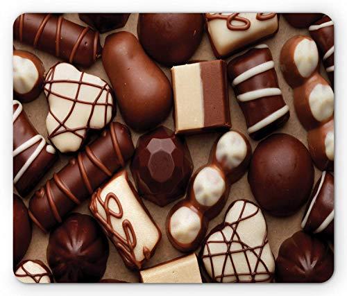 Chocolade Muis Pad, Chocolade Snoep Snoepjes Truffels Gourmet Heerlijke Dessert Close-up foto, muismat Donker Ivoor
